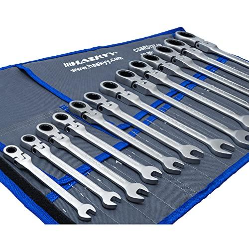 13-Tlg. HASKYY - Gelenk-Ratschenschlüssel Satz Set 8-32 mm Gabelschlüssel Ratschen Schlüssel