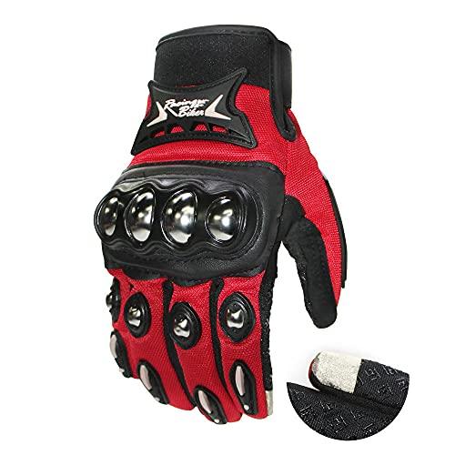 Guantes Protectores de Acero Inoxidable para Montar en Deportes al Aire Libre, Guantes de Pantalla táctil para Motocicleta, Dedo completo-rojo-L-B21