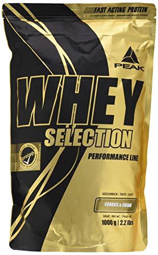 PEAK Whey Selection 1000g| über 40{371626c4667bd2cc49e4cadc9e2787bd36db12d56983977594d666cb81769a4c} Isolatanteil | Premium Molkenprotein mit L-Leucin | (Cookies & Cream)
