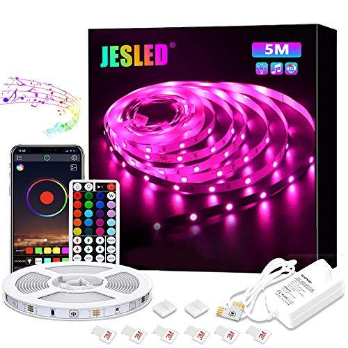 LED Strip, JESLED 5m RGB 5050 LED Streifen Farbwechsel, LED Bänder Strips mit Bluetooth Kontroller Sync zur Musik, Anwendung für Schlafzimmer, Party und Feriendekoration