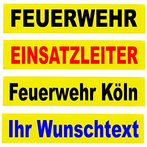 Reflexschild Rückenschild Zitronengelb leuchtgelb reflektierend mit Wunschtext individuell wie RETTUNGSDIENST FEUERWEHR NOTARZT in 15x5cm, 13x2,5cm, 30x5cm 38x8cm, 40x8cm, 42x8cm, 38x16cm (30x5cm)