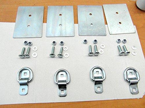 4 Stück AVB Zurring Zurröse Aufbauring 800 daN Zurrlasche Zurrmulde mit Montageschrauben und Gegenplatte