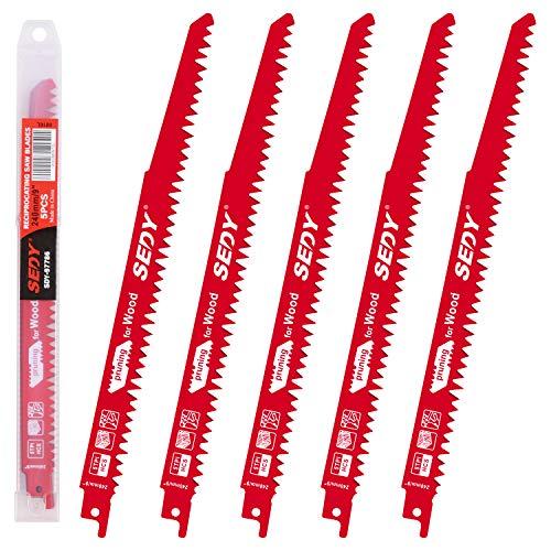 BRIMIX 5 Hojas de sierra de sable 240 mm 5 TPI para corte rápido en madera. Con estuche de plastico