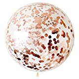 Letsparty BCARICH 36 inch Rose Gold Confetti Balloons, Jumbo Round Balloons for Party Decorations or Festival - 5pcs