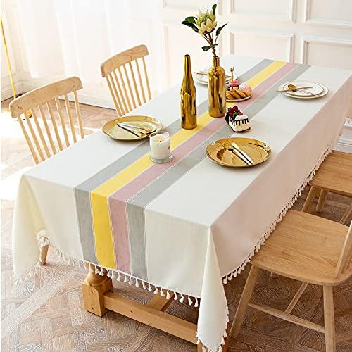 Xiaojie Mantel decorativo de lino a cuadros con borla, impermeable, resistente al aceite, rectangular, grueso, para mesa de comedor (color: color A, especificación: 140 x 200 cm)