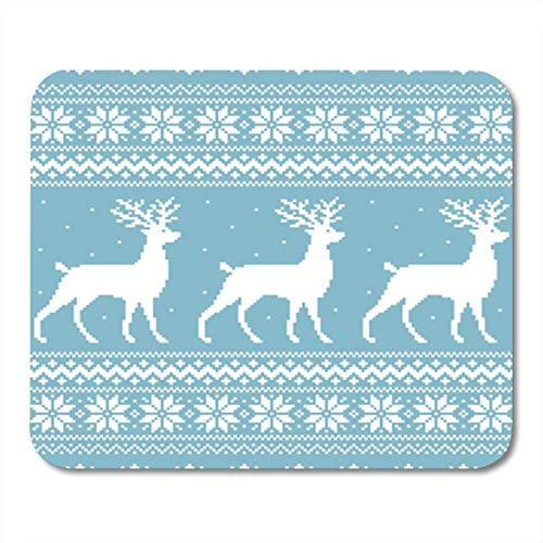 Gaming Mouse Pad Reindeer Christmas Blue Knitted Winter Sweater Pixel Deer AbstractDecor Office Nonslip Rubber Backing Mousepad Mouse Mat