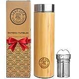 Original Bamboo Tumbler with Tea Infuser & Strainer by LeafLife | 17oz Premium Tea Bottle | Vacuum Insulated Travel Tea Mug | Comes with Tea Diffuser For Loose Tea
