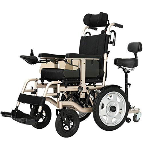 H&1 Silla de Ruedas eléctrica Motor Doble Plegable eléctrico de Alta Resistencia Que se Adapta a una Variedad de pavimentos Dorado para Personas Mayores discapacitad