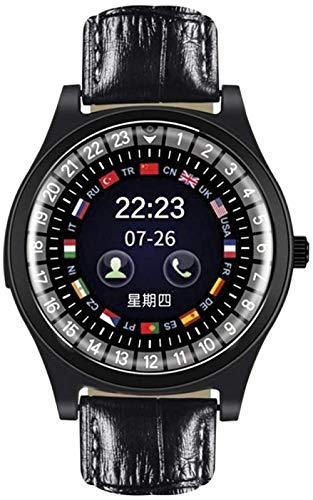YSSJT Reloj inteligente con tarjeta independiente, esfera clásica, información de llamadas sincrónicas, color negro