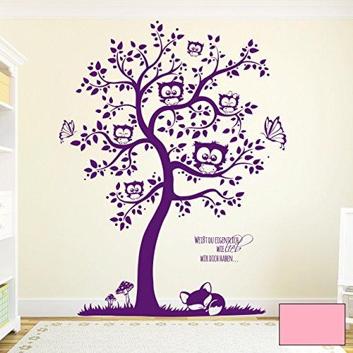 ilka parey wandtattoo-welt Wandtattoo Wandaufkleber Eulenbaum mit Spruch Weißt du eigentlich wie lieb wir Dich haben M1592 - ausgewählte Farbe: *Rosa* - ausgewählte Größe: M - 80cm breit x 100cm hoch