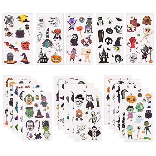 KINBOM 210+ Piezas Surtidos Tatuajes Temporales de Halloween, Que Incluyen 90 Piezas de Pegatinas de Tatuajes de Halloween Brillantes para Niños, Niños y Niñas con Patrón de Calabaza, Calavera, Fantas