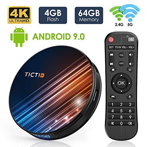 Android 9.0 TV Box 4GB RAM 64GB ROM, TICTID R8 Pro Android TV Box