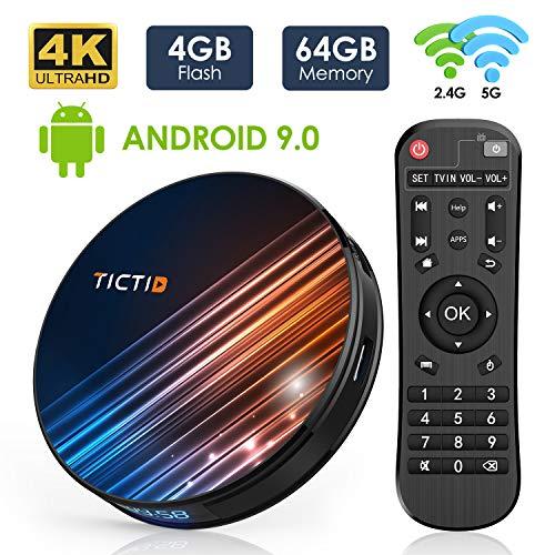 Android 9.0 TV Box 4GB RAM 64GB ROM, TICTID R8 Pro Android TV Box RK3318 Quad-Core 64bit with...
