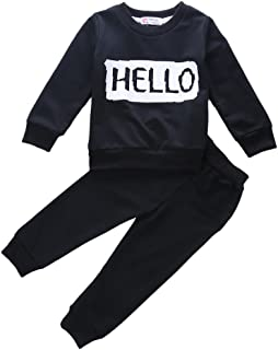 Canis Little Girls' Long Sleeve Letters Pullover Sweatshirt And Pants Outfit