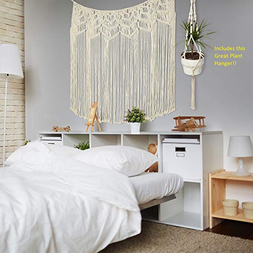 TB WorldMarketing Large Macrame Wall Hanging with Plant Hanger- Boho-Chic Home Decor - Beautiful White Decorations for Bedroom,Nursery,Room - Backdrop for Weddings, Party- Headboard - Curtain-36x48