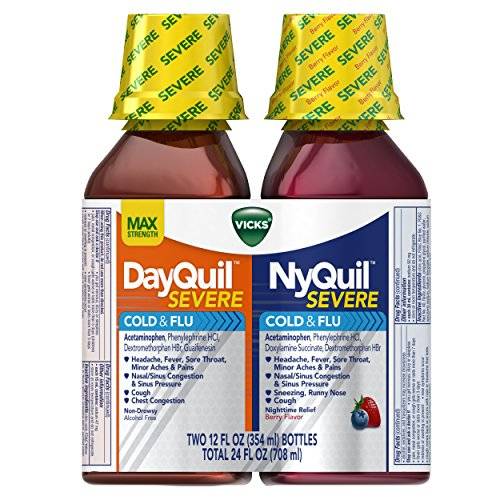 Vicks NyQuil and DayQuil SEVERE Cough, Cold & Flu Relief Liquid, 2x12 Fl Oz Combo, Relieves Sore Throat, Fever, and Congestion, Day or Night (Packaging May Vary)