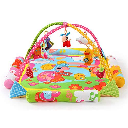 JLCP Baby Play Gym, Dessin animé Mouton Nouveau-né activité Jouer Tapis Puzzle début de l'apprentissage Centre Musique Ramper Couverture Fitness Rack Jouet Convient pour 0-2 Ans Vieux