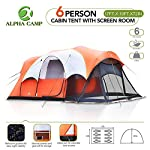 ALPHA CAMP 6 Person Family Group Cabin Camping Dome Tent with Screen Room