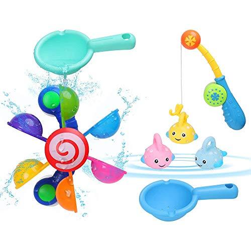 Badewannen Spielzeug, BBLIKE 7 Stück Badespielzeug Bad Angeln Spielzeug mit Schwimmenden Fisch, Wasserspielzeug im Badewanne für Baby und Kleinkinder, Badespaß ab 3 Jahre für Badewanne Dusche Pool