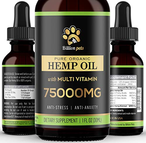 Billion Pets - Hemp Oil for Dogs Cats - Made in USA - Max Potency - Calming Drops for Dogs - Omega 3, 6, 9