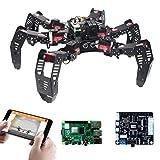 Robot Raspberry Pi Car Kit con Brazo robótico 3-DOF, Robot Araña de Seis Patas Kit para Raspberry Pi 4B, Tutorial and Code, App Control, Live Video, Seguimiento Objetivos OpenCV