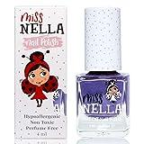 Miss Nella SWEET LAVENDER- púrpura Esmalte especial para uñas con brillos para niños, fórmula despegable, a base de agua y sin olor