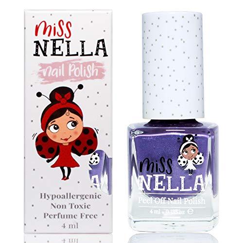 Miss Nella SWEET LAVENDER abziehbarer Nagellack speziell für Kinder, lila Glitzer, Peel-Off-Formel, ungiftig, wasserbasiert und geruchsneutral
