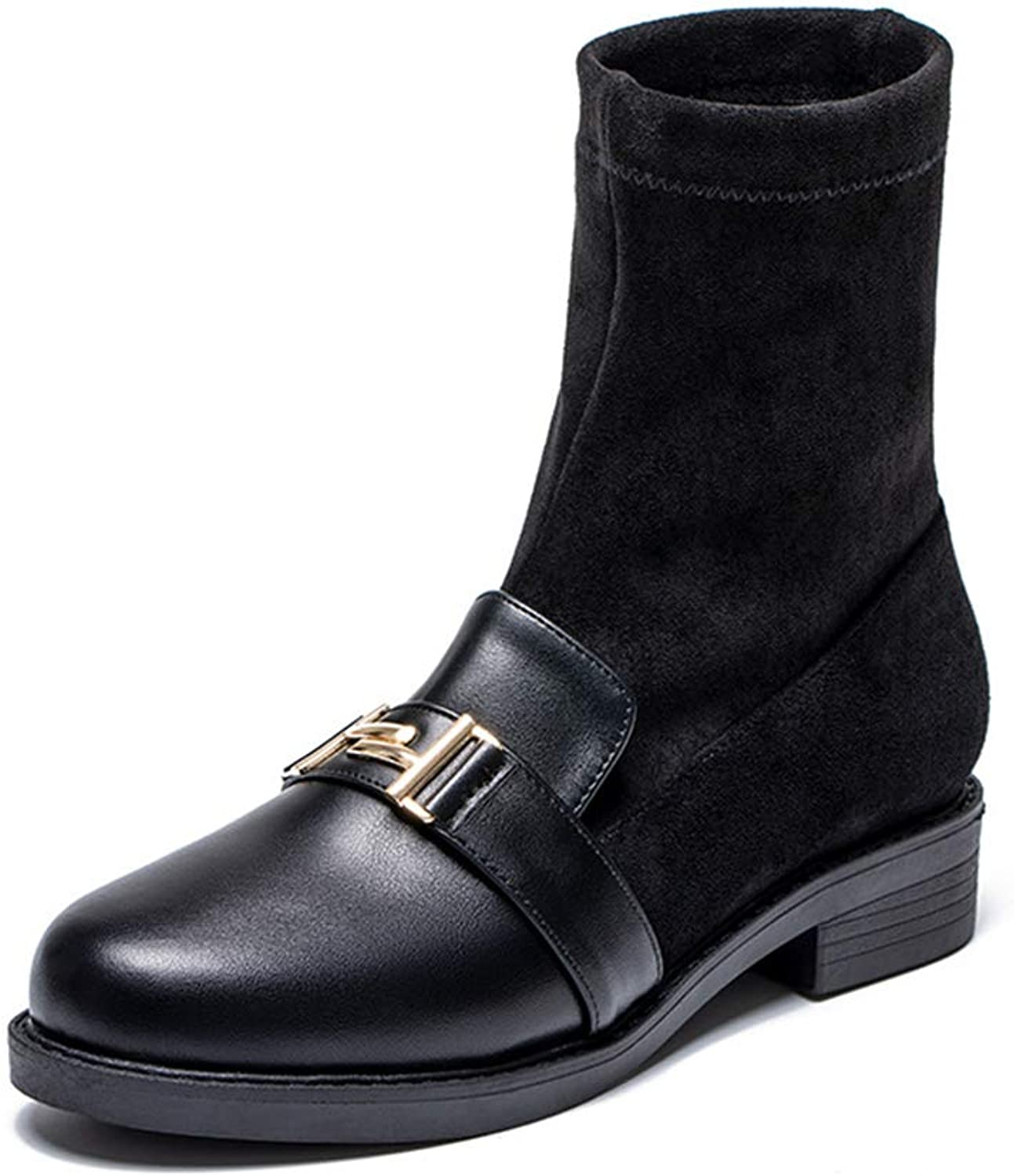 A-LING Women's Round Head Vintage Buckle shoes Slip On Martin Boots