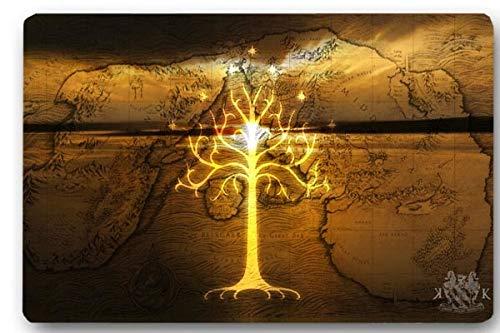 KOOCO Alfombra de la Puerta Cubierta El señor de los Anillos Golden Tree Máquina Antideslizante Lavable Al Aire Libre Decoración Interior Alfombra, 450 mm X 750 mm