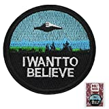 MUNAN UFO I Want to beLeave Patch Embroidered Applique Badge Iron On Sew On Emblem