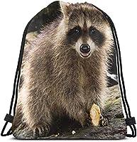 ナップサック アライグマおかしい軽量防水巾着バッグスポーツジムサックバッグバックパック男性女性子供36×43センチ