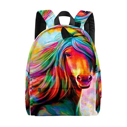 Kid's Backpacks Colorful Rainbow Horse Rucksack Cute Student School Book Bags