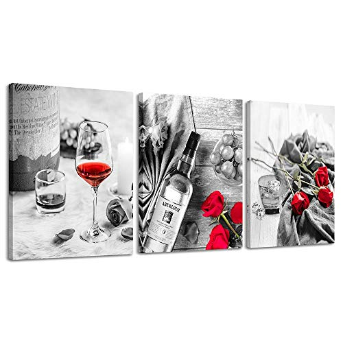 Canvas Wall Art Decor Wine Painting Artwork Poster Red Wine In Cups With Ice