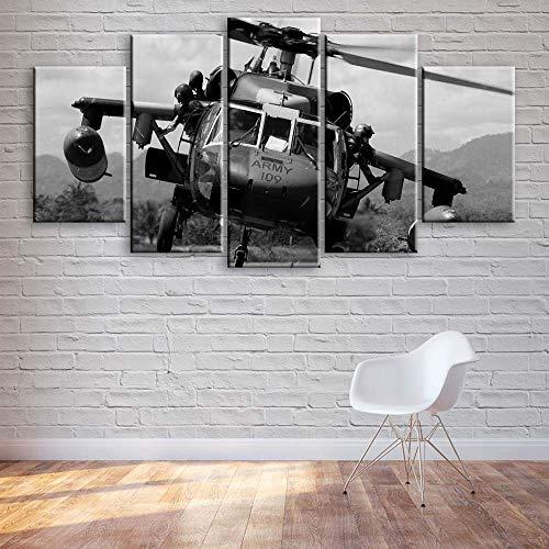 GSDFSD Cuadros Decoracion Salon Modernos 5 Piezas Helicóptero de halcón Negro Lienzo Grandes XXL murales,Pared Cuadros Decorativos Modulares para Sala de Estar Impresiones 200x100cm