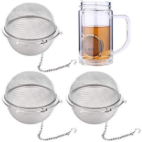 Infusore per Tisane 3 Pezzi, Durevole Filtro da Tè in Acciaio Inossidabile 304, Filtro per Tisane, Filtro The Infusione, Filtro Sferico a Rete per Il Tè, Filtro da Tè Con Catena di Estensione