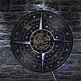 TJIAXU Brújula Rosa decoración de Pared diseño Moderno Reloj de Pared Disco de Vinilo náutico...