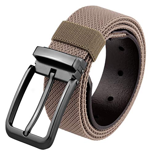 Samtree Nylon Stretch Belt for Men, Elastic Casual Leather Tab Web Belt with Square Removable Pin Buckle(Khaki)