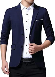 Men's Slim Fit Casual Two Buttons Suits Coat Solid Blazer Business Jacket Single Breasted Jackets Goosun Smart Formal Dinn...