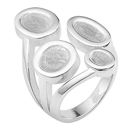 Vinani Ring Korallen Design abgerundet breit glänzend verschlungen Sterling Silber 925 Größe 60 (19.1) 2RMN60