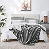 "Walensee Sherpa Fleece Blanket (Queen Size 90""x90"" Grey) Plush Throw Fuzzy Super Soft Reversible Microfiber Flannel Blankets for Couch, Bed, Sofa Ultra Luxurious Warm and Cozy for All Seasons"