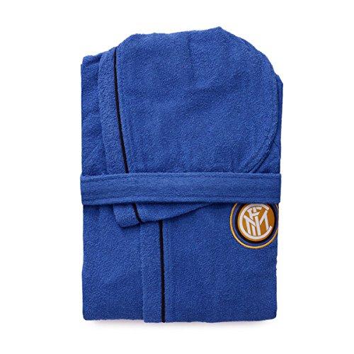 Peignoir officiel FC Inter taille 4 6 8 10 12 14 noir bleu 100 % micro éponge pur coton pour enfant (8/10 ans)