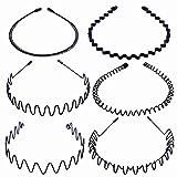 AIM Cloudbed 6 Piezas Diademas de Metal, Banda para el Pelo Metal Color Negro Banda para el Pelo Multiestilo Unisex Flexible Accesorios para Mujeres y Hombres