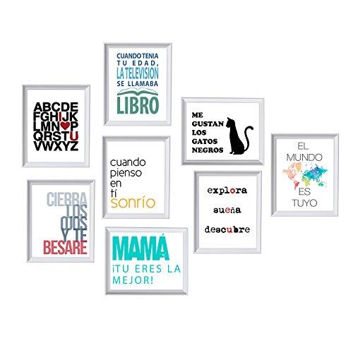 Pack de Ocho láminas Feliz. Posters con imágenes y Mensajes alegres. Decoración de hogar. Láminas para enmarcar. Papel 250 Gramos