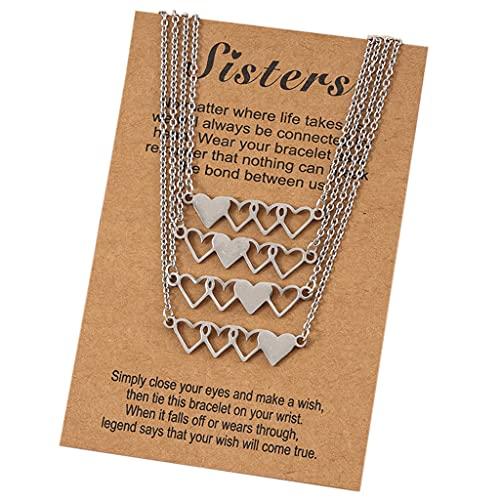 Gergxi Collar de la amistad, 4 unidades/5 collares cortos en forma de corazón para hermanas o 5 hermanas, de acero inoxidable