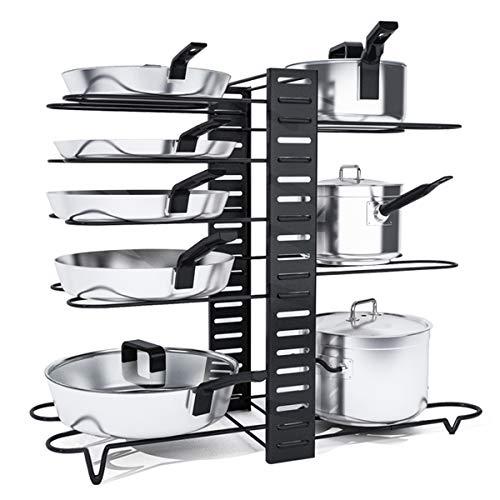 VLikeze Topfdeckelhalter Deckelhalter - 8 Etagen Freistehender Pfannenständer für Topf Organisator - Küchenregal Pfannenhalter Schrank Organizer Einfach zu Montieren und zu Reinigen - Pfannenhalter