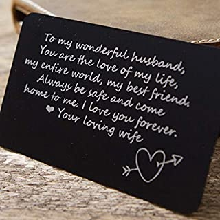 Wallet Card Insert (Aluminum Metal Card Insert with etched quote - Gift for husband - Deployment gift)