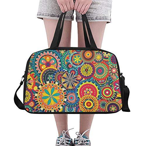 Plosds Mädchen Sporttasche Bunte Blumenmuster Tapete Bunte wallpap Yoga Gym Totes Fitness Handtaschen Seesäcke Schuh Beutel für Sport Gepäck Womens Outdoor Tote
