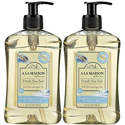A La Maison de Provence Fresh Sea Salt Liquid Hand and Body Soap (Pack of 2) With Olive Oil, Coconut Oil and Vitamin E, 16.9 fl oz Each