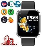 Brazalete Táctil Inteligente de Color de Alta definición con Monitor de frecuencia cardíaca IP67 Impermeable y Resistente al Polvo Reloj Deportivo de Moda para iOS Android Smartphone,P70 Plata