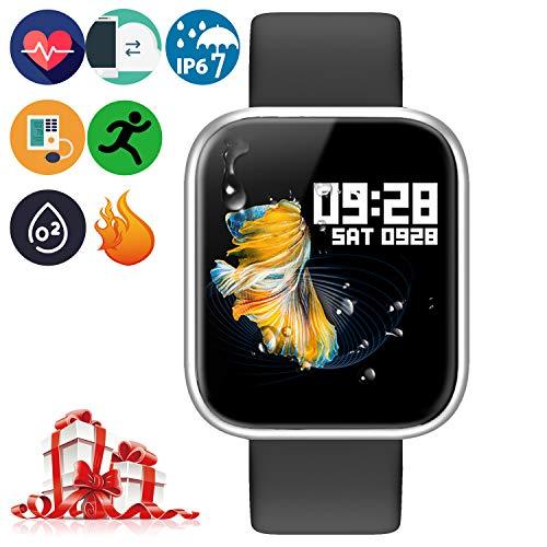 Bluetooth Smartwatch - Intelligente Armbanduhr Gesundheitsmessung (Herzfrequenz Blutdruck Blutsauerstoff Schlaf) Fitness Tracker Schrittzähler Sportdaten Tracking(P70 Silber)